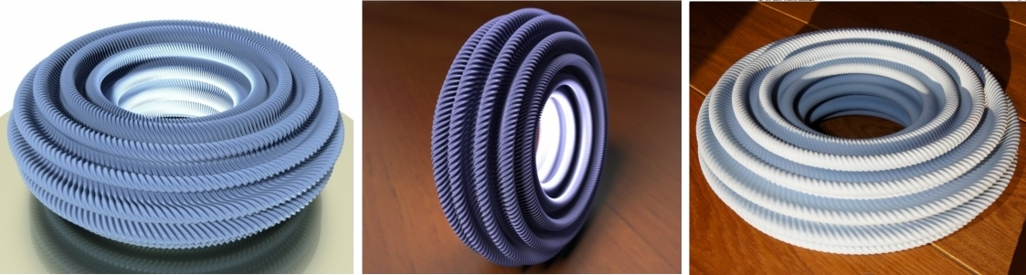 Computer renderings (left and center) and 3D printing (right) of a flat torus