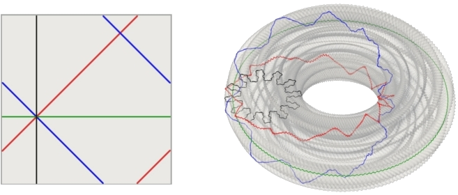 A vertical, a horizontal, a diagonal and an anti-diagonal in the square and their corresponding curves in the image surface of an isometric embedding of the square flat torus